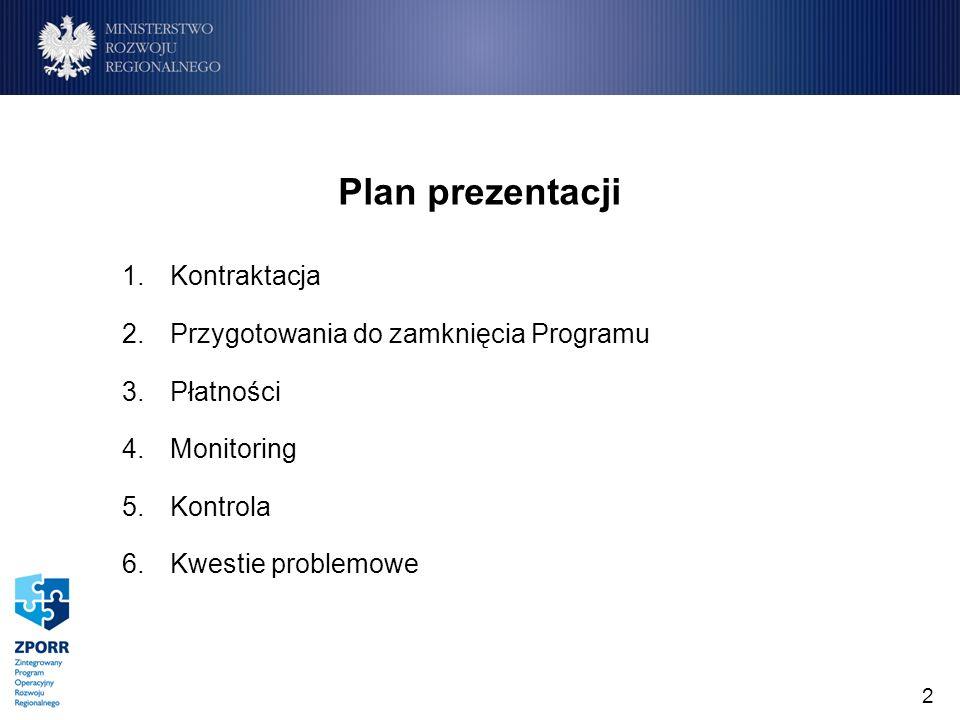 2 1.Kontraktacja 2.Przygotowania do zamknięcia Programu 3.Płatności 4.Monitoring 5.Kontrola 6.Kwestie problemowe Plan prezentacji