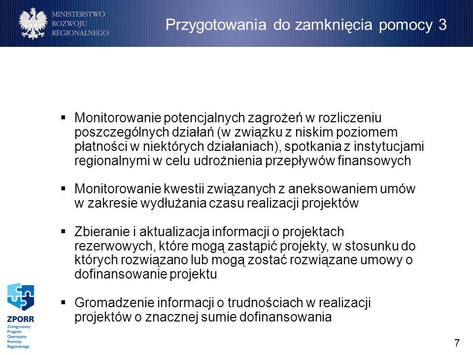 7 Monitorowanie potencjalnych zagrożeń w rozliczeniu poszczególnych działań (w związku z niskim poziomem płatności w niektórych działaniach), spotkania z instytucjami regionalnymi w celu udrożnienia przepływów finansowych Monitorowanie kwestii związanych z aneksowaniem umów w zakresie wydłużania czasu realizacji projektów Zbieranie i aktualizacja informacji o projektach rezerwowych, które mogą zastąpić projekty, w stosunku do których rozwiązano lub mogą zostać rozwiązane umowy o dofinansowanie projektu Gromadzenie informacji o trudnościach w realizacji projektów o znacznej sumie dofinansowania Przygotowania do zamknięcia pomocy 3
