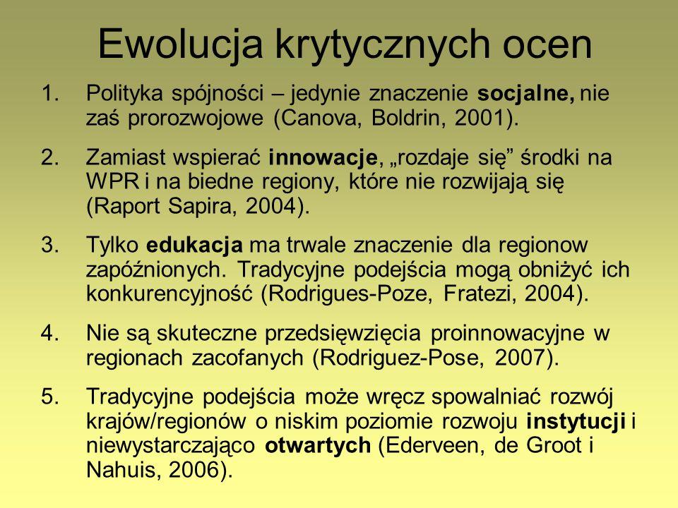 Ewolucja krytycznych ocen 1.Polityka spójności – jedynie znaczenie socjalne, nie zaś prorozwojowe (Canova, Boldrin, 2001). 2.Zamiast wspierać innowacj