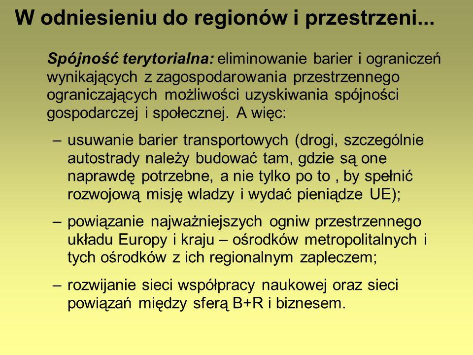 W odniesieniu do regionów i przestrzeni... Spójność terytorialna: eliminowanie barier i ograniczeń wynikających z zagospodarowania przestrzennego ogra