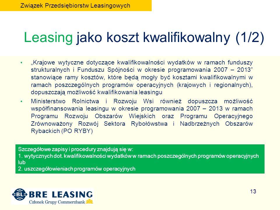 Leasing jako koszt kwalifikowalny (1/2) Krajowe wytyczne dotyczące kwalifikowalności wydatków w ramach funduszy strukturalnych i Funduszu Spójności w okresie programowania 2007 – 2013 stanowiące ramy kosztów, które będą mogły być kosztami kwalifikowalnymi w ramach poszczególnych programów operacyjnych (krajowych i regionalnych), dopuszczają możliwość kwalifikowania leasingu Ministerstwo Rolnictwa i Rozwoju Wsi również dopuszcza możliwość współfinansowania leasingu w okresie programowania 2007 – 2013 w ramach Programu Rozwoju Obszarów Wiejskich oraz Programu Operacyjnego Zrównoważony Rozwój Sektora Rybołówstwa i Nadbrzeżnych Obszarów Rybackich (PO RYBY) Szczegółowe zapisy i procedury znajdują się w: 1.
