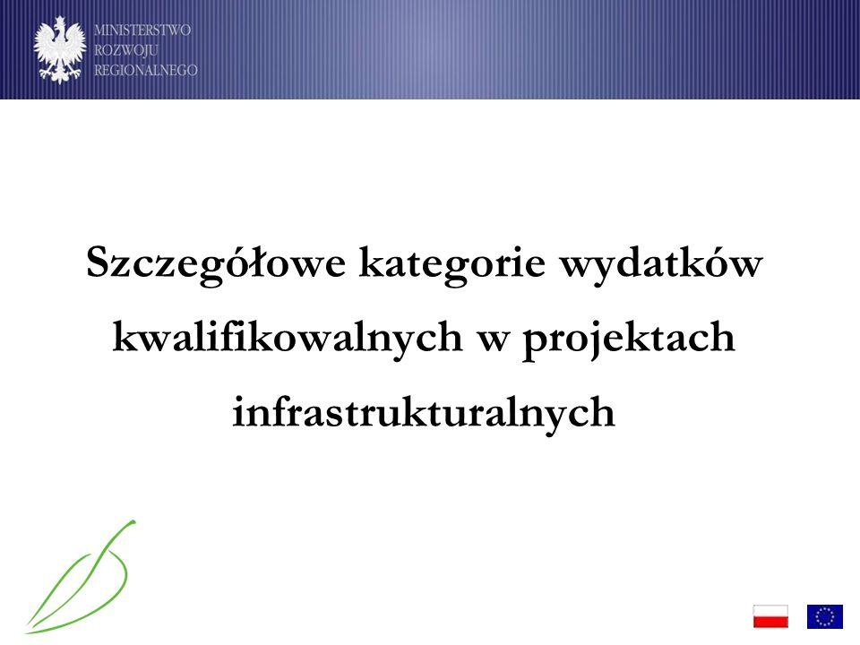 Szczegółowe kategorie wydatków kwalifikowalnych w projektach infrastrukturalnych