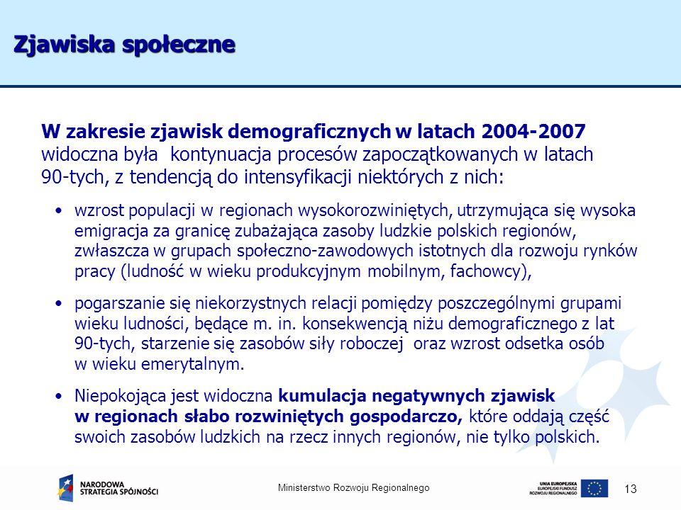 Ministerstwo Rozwoju Regionalnego 13 Zjawiska społeczne W zakresie zjawisk demograficznych w latach 2004-2007 widoczna była kontynuacja procesów zapoc