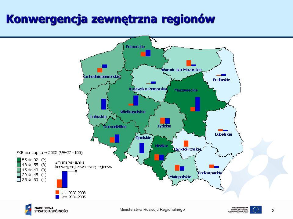 Ministerstwo Rozwoju Regionalnego 16 Dofinansowanie unijne na 1 mieszkańca Dofinansowanie w 5 najwyżej rozwiniętych województwach wyniosło 1424 zł per capita (115,6% średniej krajowej), natomiast w województwach Polski wschodniej 957 zł tj.