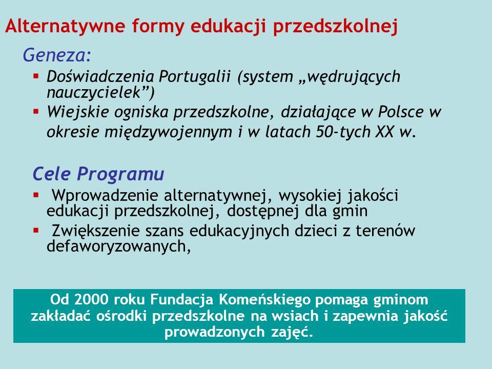 Alternatywne formy edukacji przedszkolnej Geneza: Doświadczenia Portugalii (system wędrujących nauczycielek) Wiejskie ogniska przedszkolne, działające