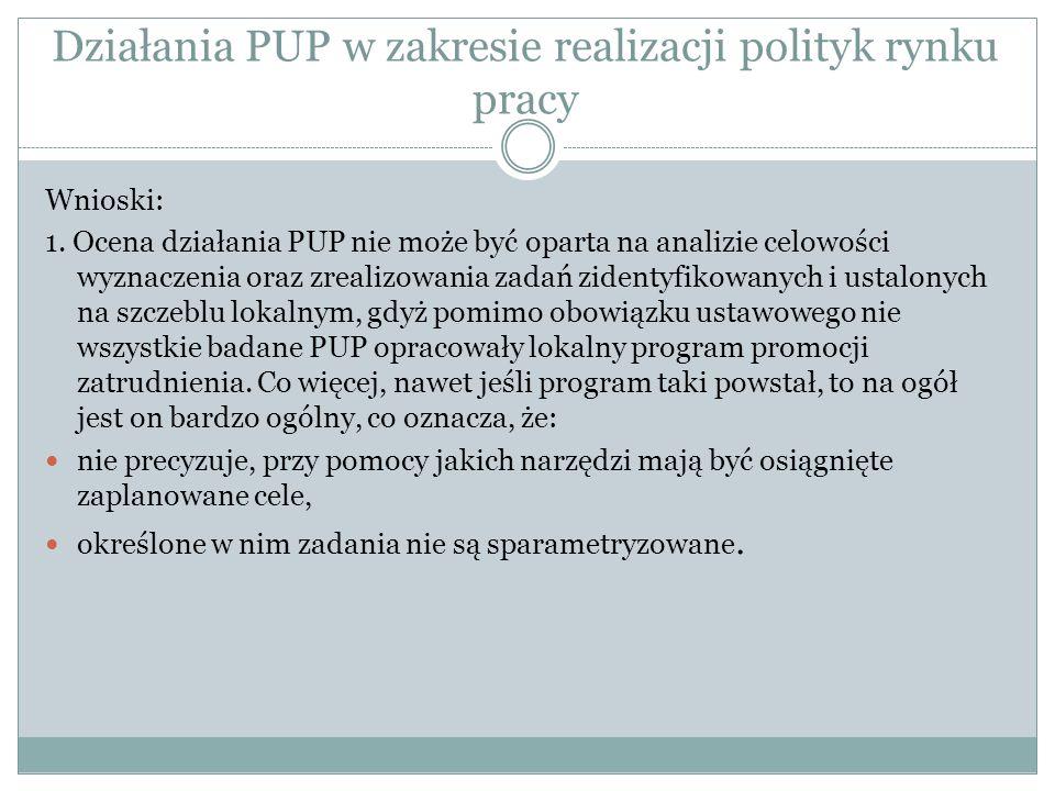 Działania PUP w zakresie realizacji polityk rynku pracy Wnioski: 1. Ocena działania PUP nie może być oparta na analizie celowości wyznaczenia oraz zre