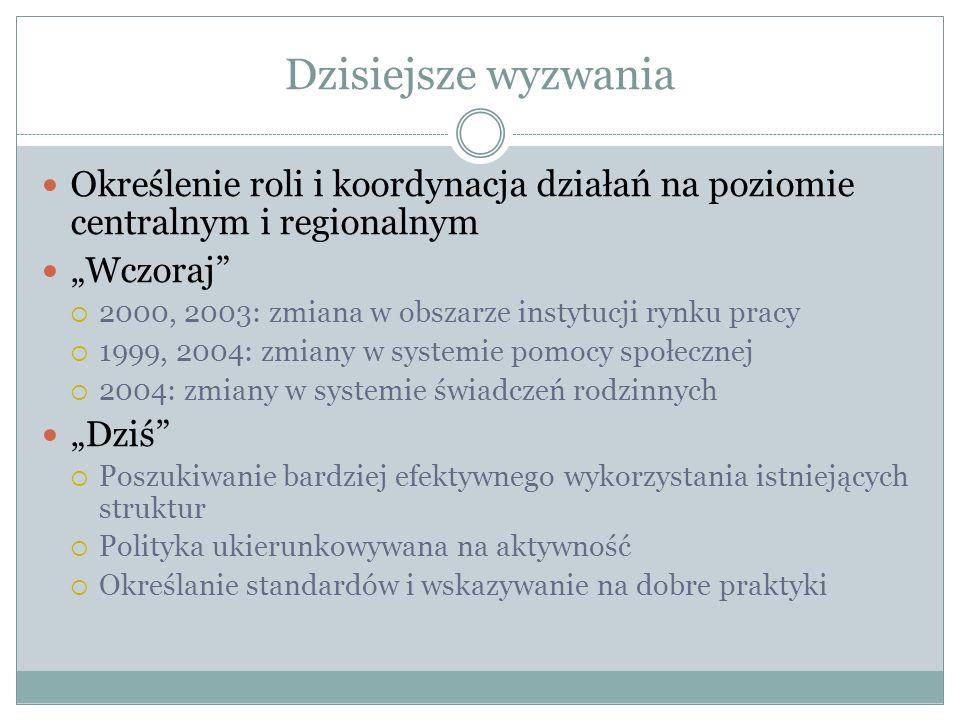 Dzisiejsze wyzwania Określenie roli i koordynacja działań na poziomie centralnym i regionalnym Wczoraj 2000, 2003: zmiana w obszarze instytucji rynku pracy 1999, 2004: zmiany w systemie pomocy społecznej 2004: zmiany w systemie świadczeń rodzinnych Dziś Poszukiwanie bardziej efektywnego wykorzystania istniejących struktur Polityka ukierunkowywana na aktywność Określanie standardów i wskazywanie na dobre praktyki