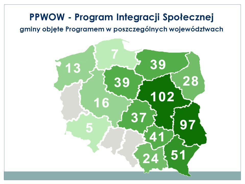 PPWOW - Program Integracji Społecznej gminy objęte Programem w poszczególnych województwach