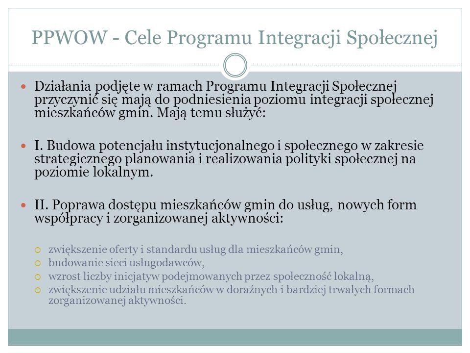 PPWOW - Cele Programu Integracji Społecznej Działania podjęte w ramach Programu Integracji Społecznej przyczynić się mają do podniesienia poziomu integracji społecznej mieszkańców gmin.