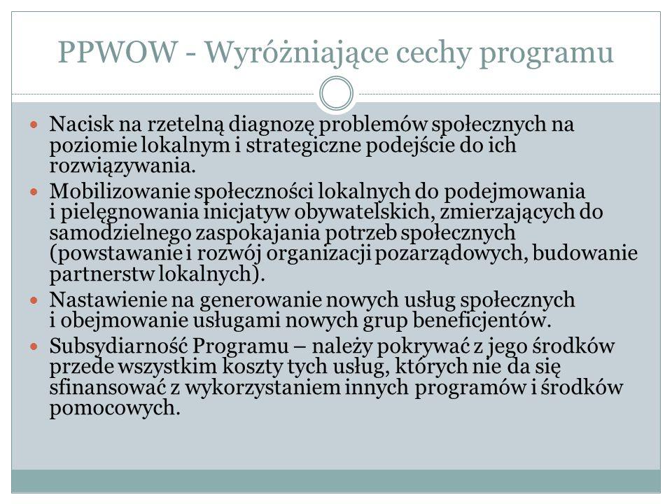 PPWOW - Wyróżniające cechy programu Nacisk na rzetelną diagnozę problemów społecznych na poziomie lokalnym i strategiczne podejście do ich rozwiązywania.