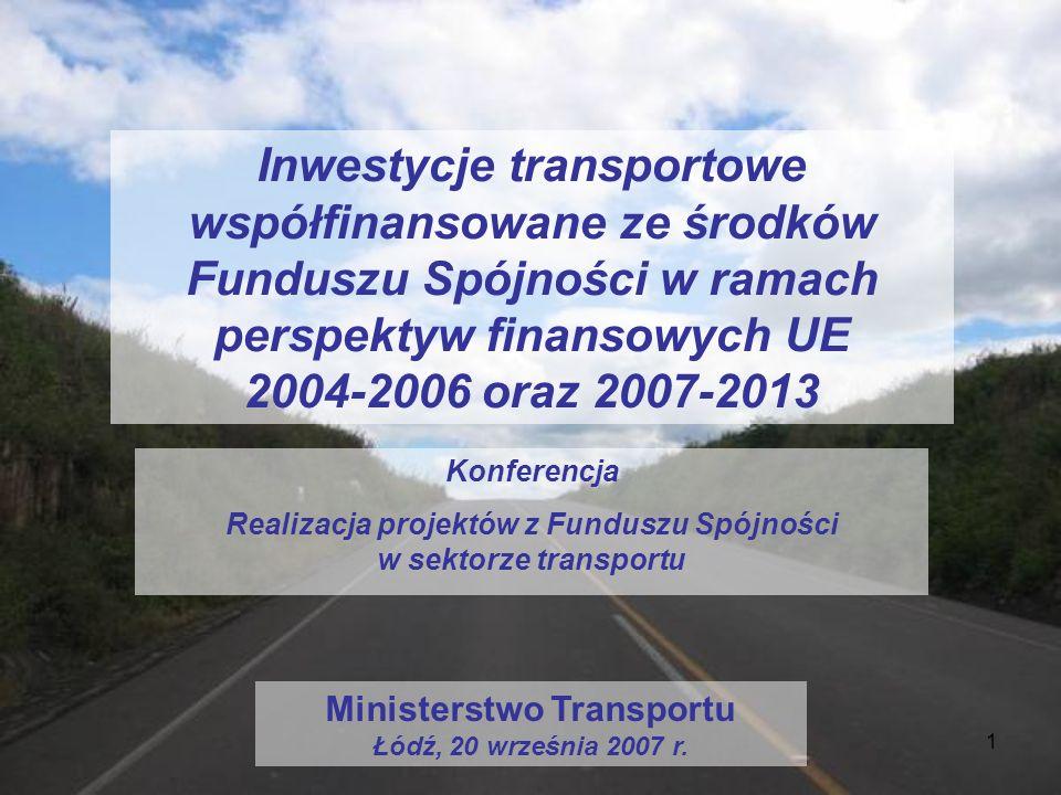 1 Inwestycje transportowe współfinansowane ze środków Funduszu Spójności w ramach perspektyw finansowych UE 2004-2006 oraz 2007-2013 Konferencja Reali