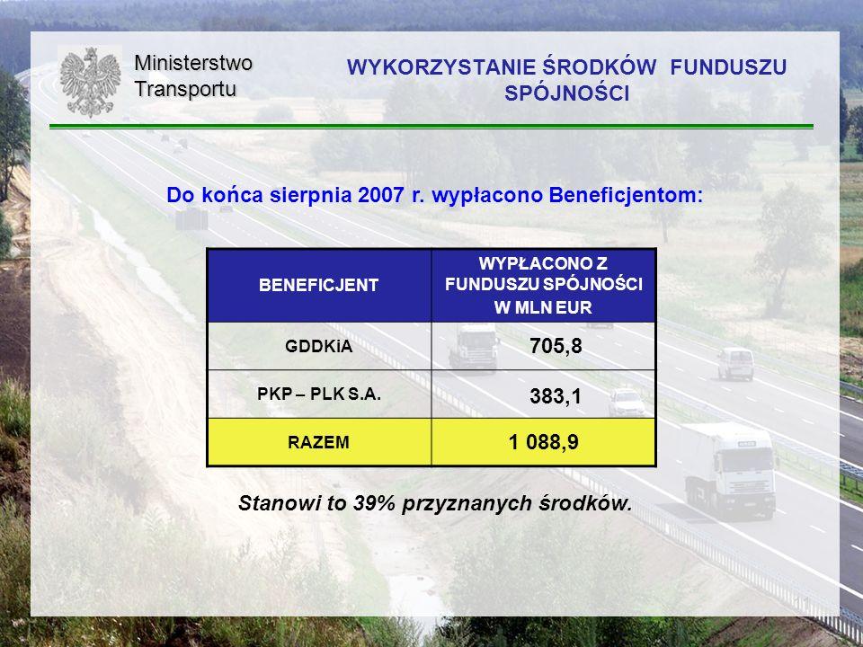 11 Do końca sierpnia 2007 r. wypłacono Beneficjentom: Stanowi to 39% przyznanych środków.MinisterstwoTransportu WYKORZYSTANIE ŚRODKÓW FUNDUSZU SPÓJNOŚ