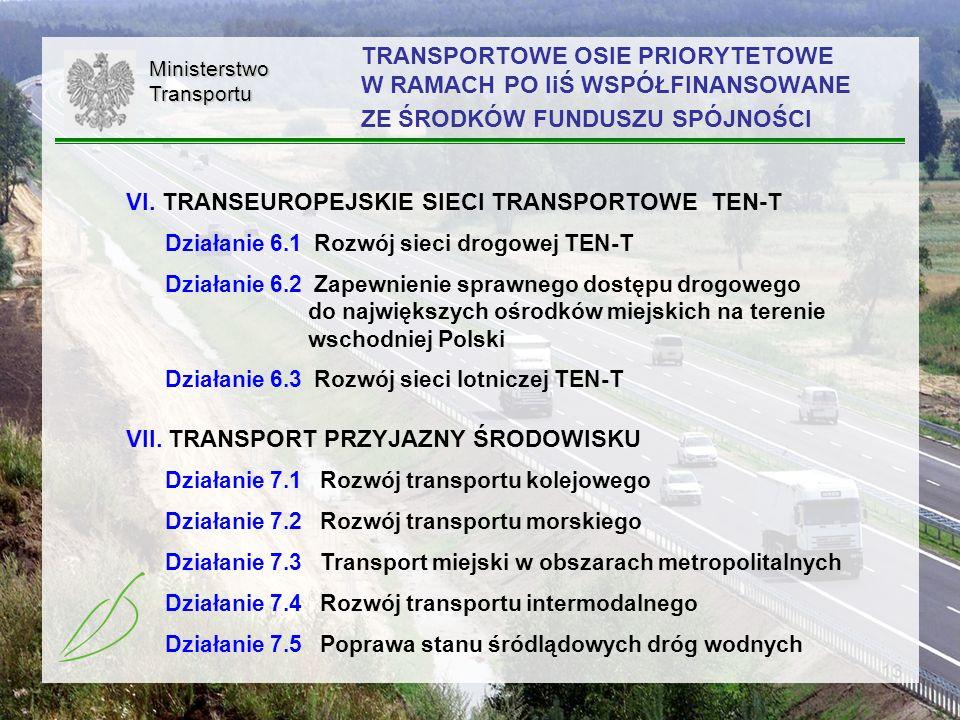 13 TRANSPORTOWE OSIE PRIORYTETOWE W RAMACH PO IiŚ WSPÓŁFINANSOWANE ZE ŚRODKÓW FUNDUSZU SPÓJNOŚCI VI. TRANSEUROPEJSKIE SIECI TRANSPORTOWE TEN-T Działan