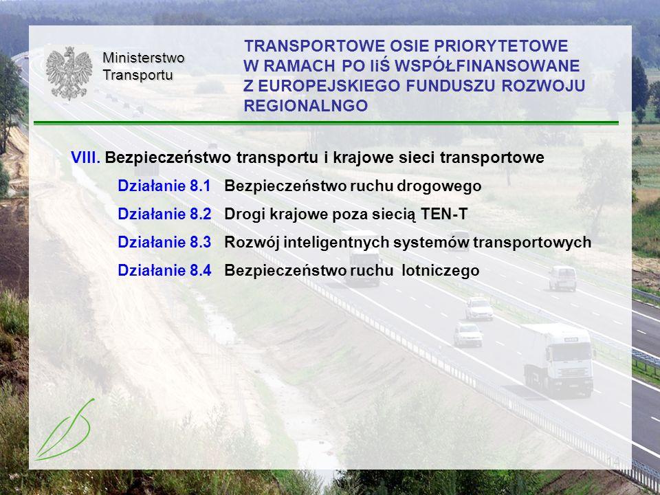 14 TRANSPORTOWE OSIE PRIORYTETOWE W RAMACH PO IiŚ WSPÓŁFINANSOWANE Z EUROPEJSKIEGO FUNDUSZU ROZWOJU REGIONALNGOMinisterstwoTransportu VIII. Bezpieczeń