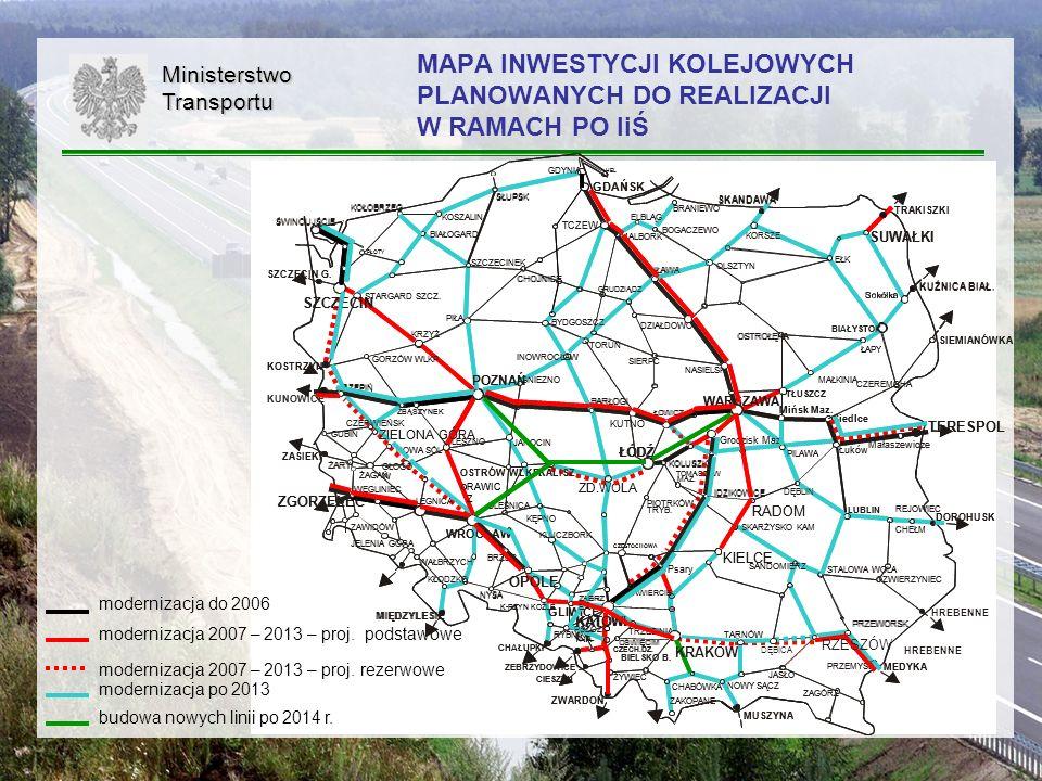 19MinisterstwoTransportu MAPA INWESTYCJI KOLEJOWYCH PLANOWANYCH DO REALIZACJI W RAMACH PO IiŚ modernizacja do 2006 modernizacja 2007 – 2013 – proj. po