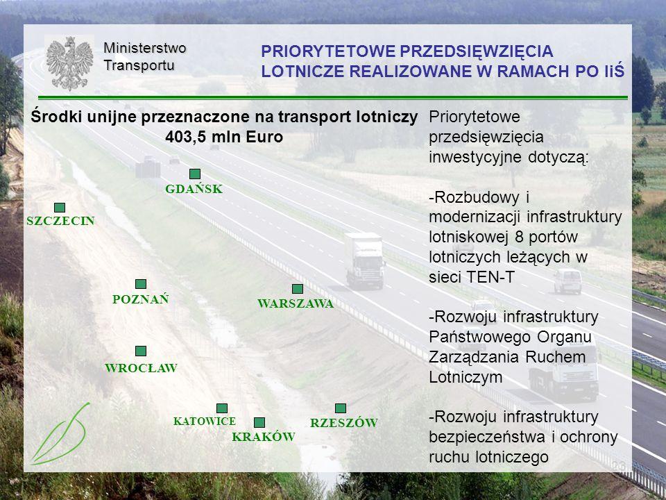 23MinisterstwoTransportu KRAKÓW WROCŁAW KATOWICE RZESZÓW WARSZAWA SZCZECIN POZNAŃ GDAŃSK Priorytetowe przedsięwzięcia inwestycyjne dotyczą: -Rozbudowy