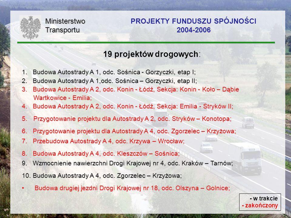 6 19 projektów drogowych: 1. Budowa Autostrady A 1, odc. Sośnica - Gorzyczki, etap I; 2. Budowa Autostrady A 1,odc. Sośnica – Gorzyczki, etap II; 3.Bu