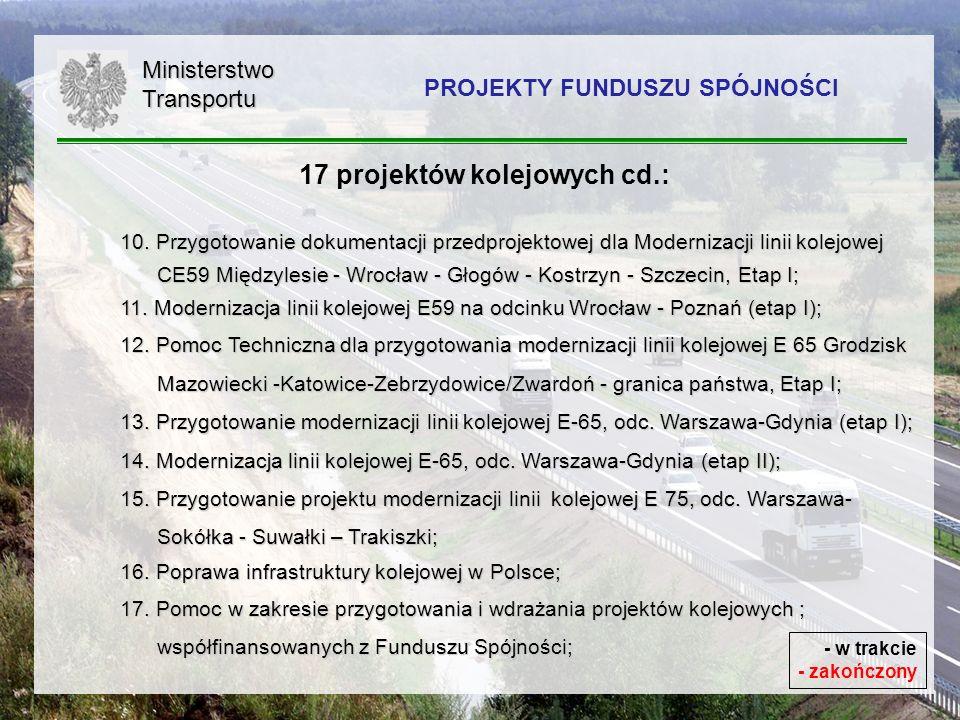 9 17 projektów kolejowych cd.: 10. Przygotowanie dokumentacji przedprojektowej dla Modernizacji linii kolejowej CE59 Międzylesie - Wrocław - Głogów -