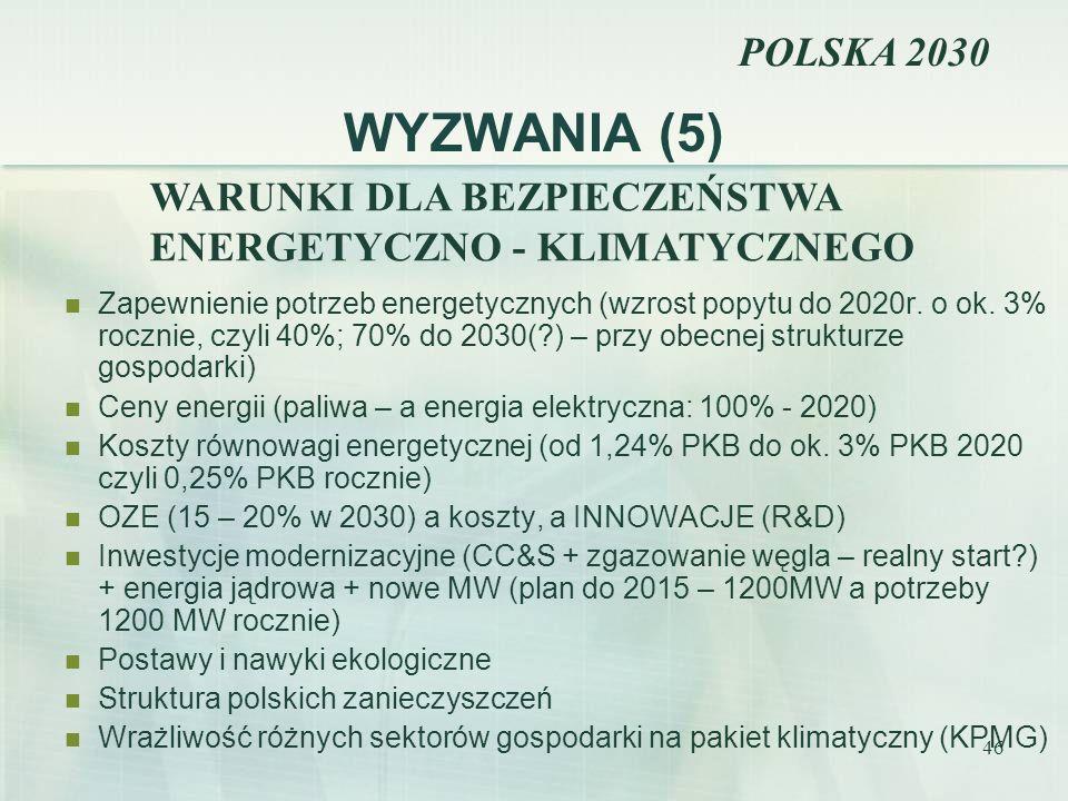 46 WYZWANIA (5) Zapewnienie potrzeb energetycznych (wzrost popytu do 2020r. o ok. 3% rocznie, czyli 40%; 70% do 2030(?) – przy obecnej strukturze gosp