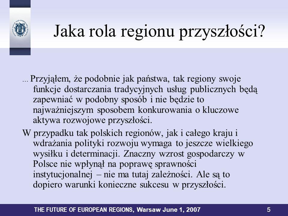Jaka rola regionu przyszłości? Jaka rola regionu przyszłości?... Przyjąłem, że podobnie jak państwa, tak regiony swoje funkcje dostarczania tradycyjny