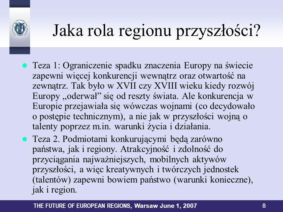 Jaka rola regionu przyszłości? Jaka rola regionu przyszłości? Teza 1: Ograniczenie spadku znaczenia Europy na świecie zapewni więcej konkurencji wewną