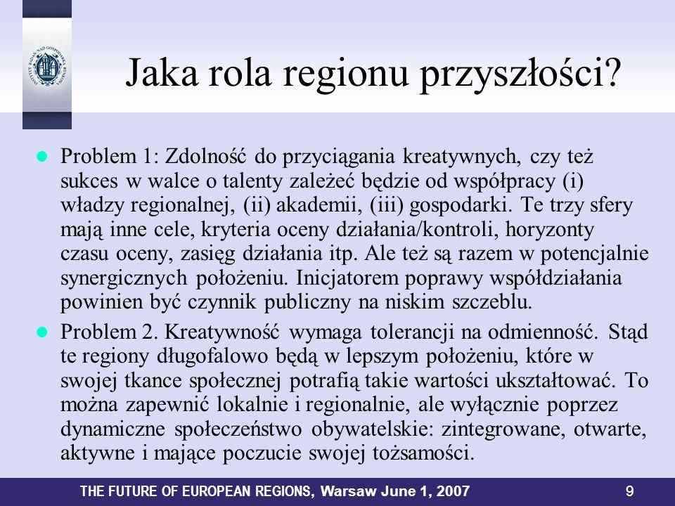 Jaka rola regionu przyszłości? Jaka rola regionu przyszłości? Problem 1: Zdolność do przyciągania kreatywnych, czy też sukces w walce o talenty zależe
