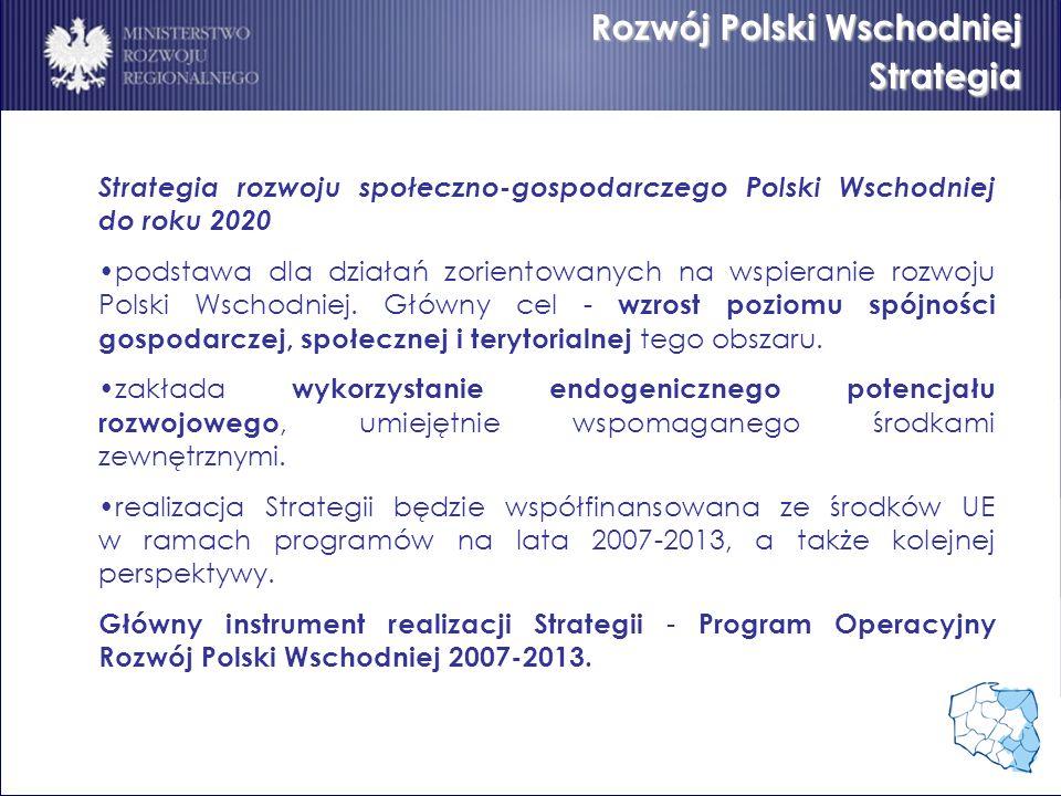 Rozwój Polski Wschodniej Strategia Strategia rozwoju społeczno-gospodarczego Polski Wschodniej do roku 2020 podstawa dla działań zorientowanych na wsp