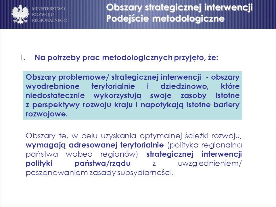 Obszary strategicznej interwencji Podejście metodologiczne 1. Na potrzeby prac metodologicznych przyjęto, że: Obszary problemowe/ strategicznej interw
