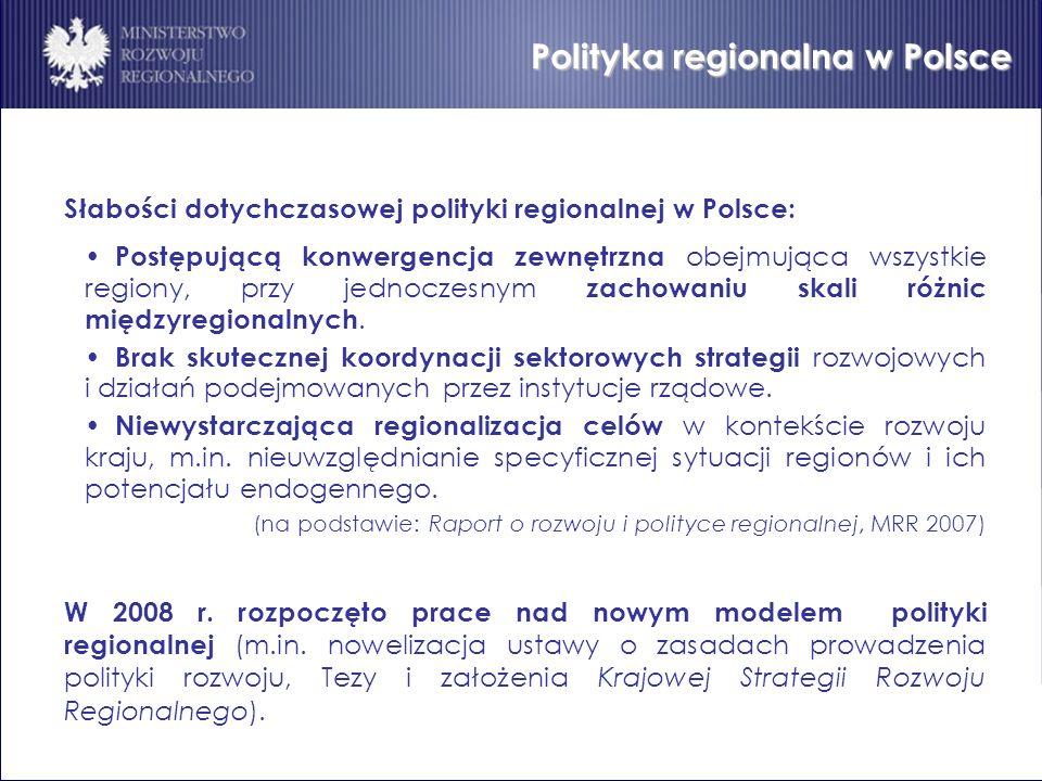 Polityka regionalna w Polsce Słabości dotychczasowej polityki regionalnej w Polsce: Postępującą konwergencja zewnętrzna obejmująca wszystkie regiony,