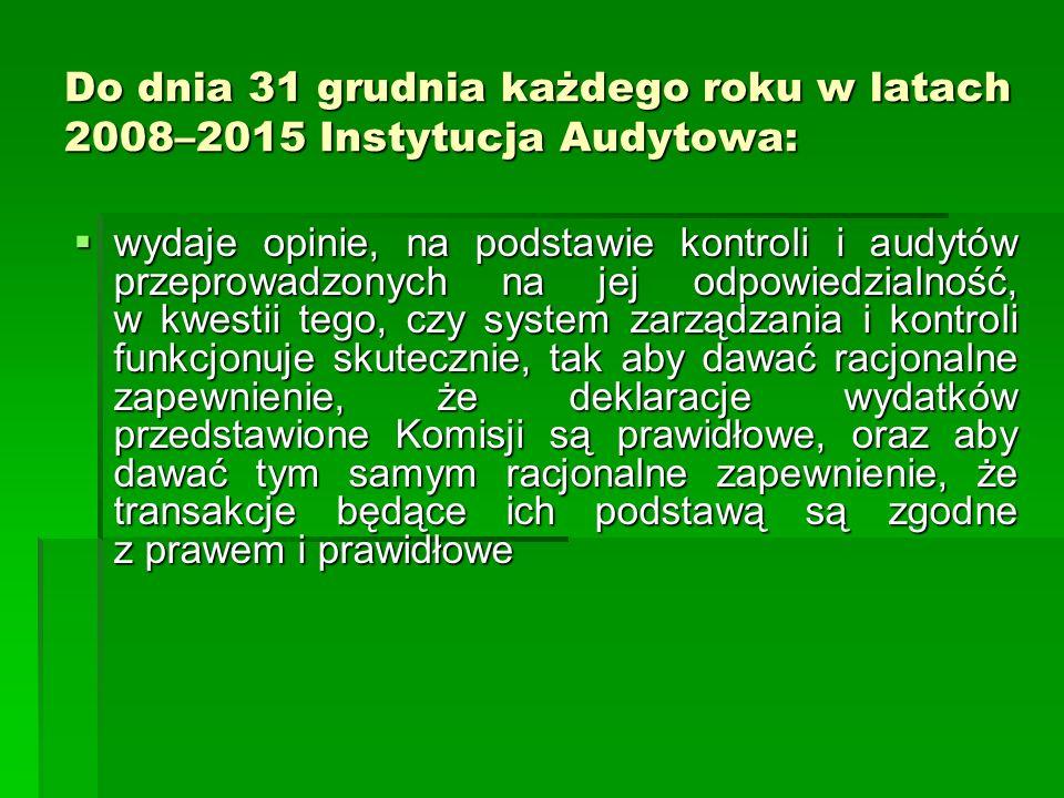 Do dnia 31 grudnia każdego roku w latach 2008–2015 Instytucja Audytowa: wydaje opinie, na podstawie kontroli i audytów przeprowadzonych na jej odpowie