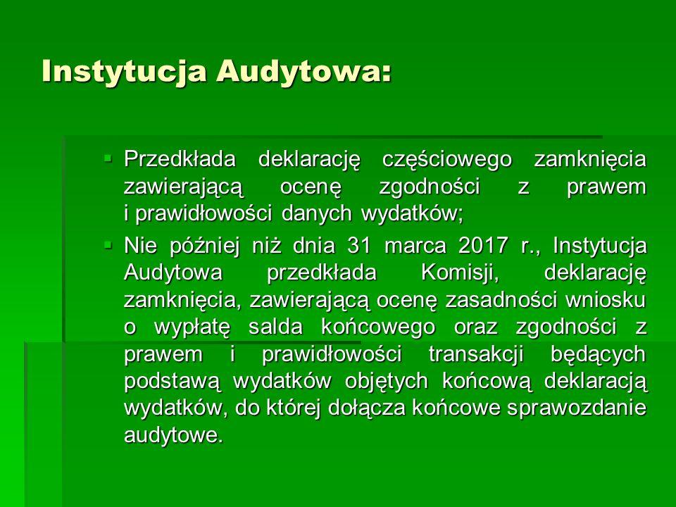 Instytucja Audytowa: Przedkłada deklarację częściowego zamknięcia zawierającą ocenę zgodności z prawem i prawidłowości danych wydatków; Przedkłada dek