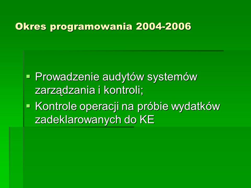 Okres programowania 2004-2006 Prowadzenie audytów systemów zarządzania i kontroli; Prowadzenie audytów systemów zarządzania i kontroli; Kontrole opera