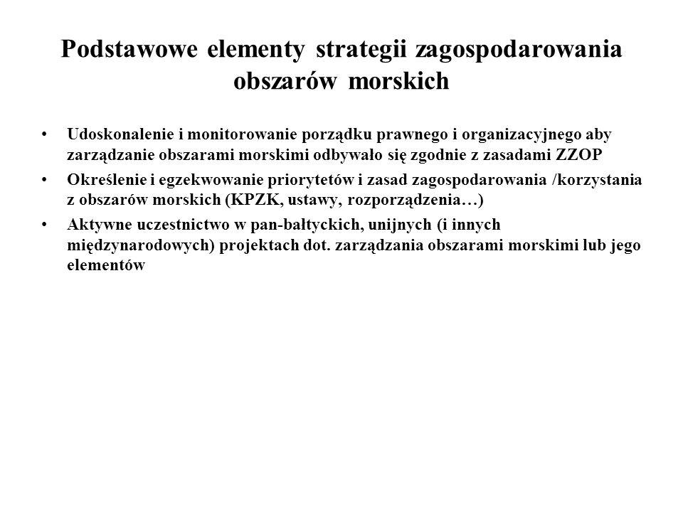 Podstawowe elementy strategii zagospodarowania obszarów morskich Udoskonalenie i monitorowanie porządku prawnego i organizacyjnego aby zarządzanie obs