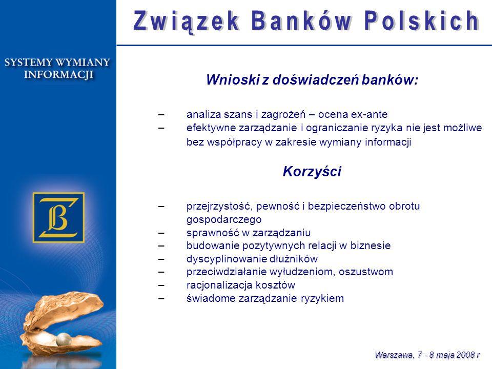 Warszawa, 7 - 8 maja 2008 r Wnioski z doświadczeń banków: –analiza szans i zagrożeń – ocena ex-ante –efektywne zarządzanie i ograniczanie ryzyka nie jest możliwe bez współpracy w zakresie wymiany informacji Korzyści –przejrzystość, pewność i bezpieczeństwo obrotu gospodarczego –sprawność w zarządzaniu –budowanie pozytywnych relacji w biznesie –dyscyplinowanie dłużników –przeciwdziałanie wyłudzeniom, oszustwom –racjonalizacja kosztów –świadome zarządzanie ryzykiem