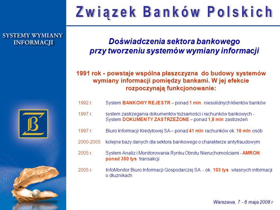 Warszawa, 7 - 8 maja 2008 r 1992 r. System BANKOWY REJESTR – ponad 1 mln.