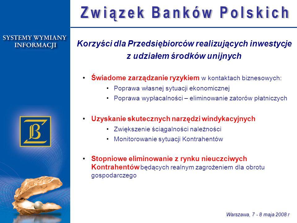PRZEDSIĘBIORCA Wnioskodawca BANKI oraz instytucje uprawnione z ustawy Prawo bankowe INSTYTUCJA WDRAŻAJĄCA właściwa dla danego priorytetu lub programu operacyjnego Model wykorzystania infrastruktury sektora bankowego Kontrahent Warszawa, 7 - 8 maja 2008 r Bankowe Systemy Wymiany Informacji Wsparcie dla procesów: oceny ryzyka monitoringu realizacji inwestycji Wsparcie dla procesów: oceny wniosków o dofinansowanie monitoringu realizacji inwestycji Wsparcie dla procesów: badania wiarygodności kontrahentów eliminowania zatorów płatniczych