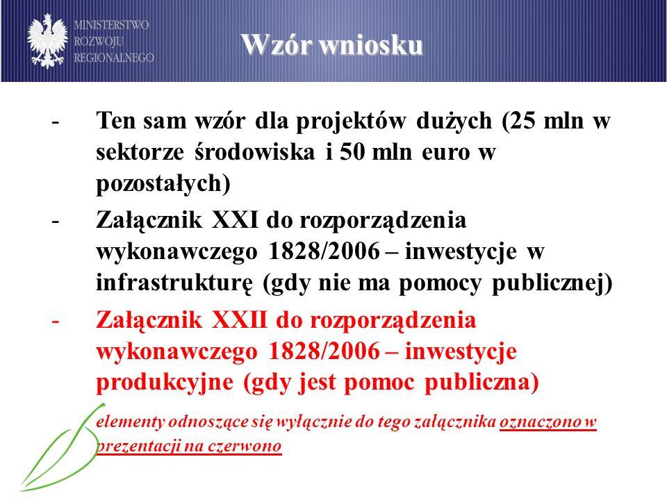 Zasady wypełniania -Wniosek wypełniony w PLN, przeliczenie na euro dopiero na ostatnim etapie, tylko dla dużych projektów -Wypełniany w języku polskim -Tekst (wersja polska) dokładnie taki, jak w rozporządzeniu -Instrukcja do wniosku przygotowana we współpracy z IP, dostosowana do specyfiki danego sektora/priorytetu/działania -Różnice w wymaganych załącznikach -Wydatki na wypełnianie wniosku nie są kwalifikowane