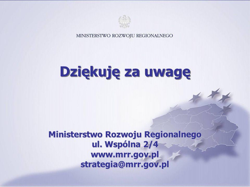 Ministerstwo Rozwoju Regionalnego ul. Wspólna 2/4 www.mrr.gov.pl strategia@mrr.gov.pl Dziękuję za uwagę