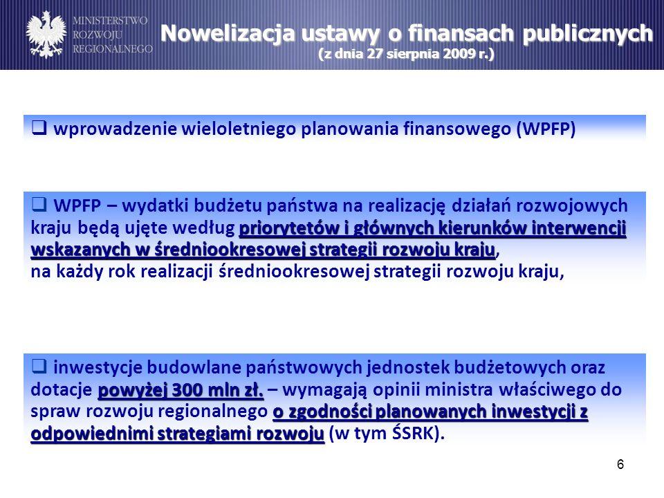 6 Nowelizacja ustawy o finansach publicznych (z dnia 27 sierpnia 2009 r.) wprowadzenie wieloletniego planowania finansowego (WPFP) priorytetów i główn