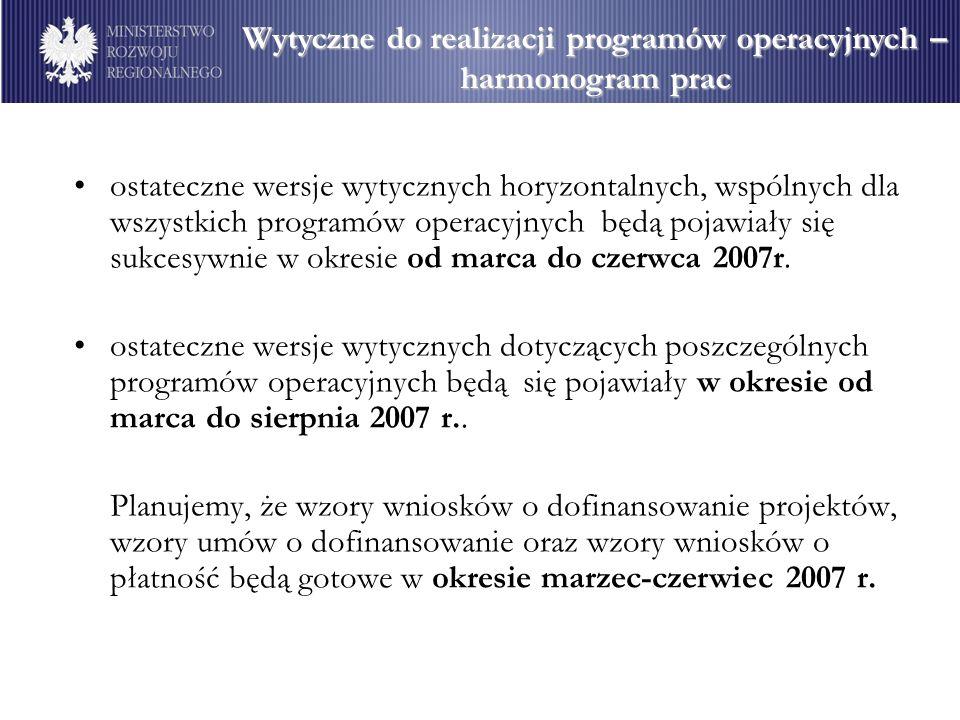 ostateczne wersje wytycznych horyzontalnych, wspólnych dla wszystkich programów operacyjnych będą pojawiały się sukcesywnie w okresie od marca do czerwca 2007r.