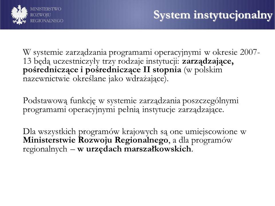 W systemie zarządzania programami operacyjnymi w okresie 2007- 13 będą uczestniczyły trzy rodzaje instytucji: zarządzające, pośredniczące i pośredniczące II stopnia (w polskim nazewnictwie określane jako wdrażające).