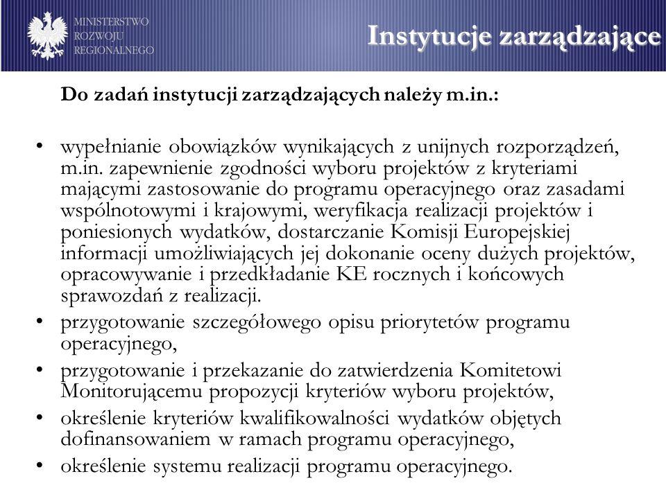 Do zadań instytucji zarządzających należy m.in.: wypełnianie obowiązków wynikających z unijnych rozporządzeń, m.in.