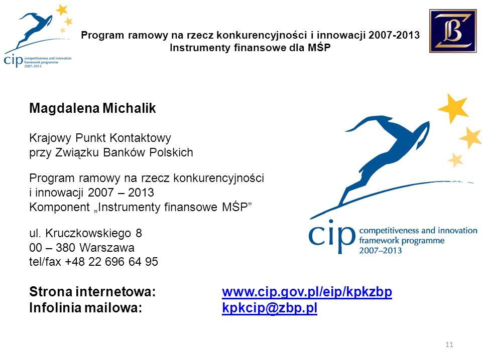 Program ramowy na rzecz konkurencyjności i innowacji 2007-2013 Instrumenty finansowe dla MŚP 11 Magdalena Michalik Krajowy Punkt Kontaktowy przy Związku Banków Polskich Program ramowy na rzecz konkurencyjności i innowacji 2007 – 2013 Komponent Instrumenty finansowe MŚP ul.