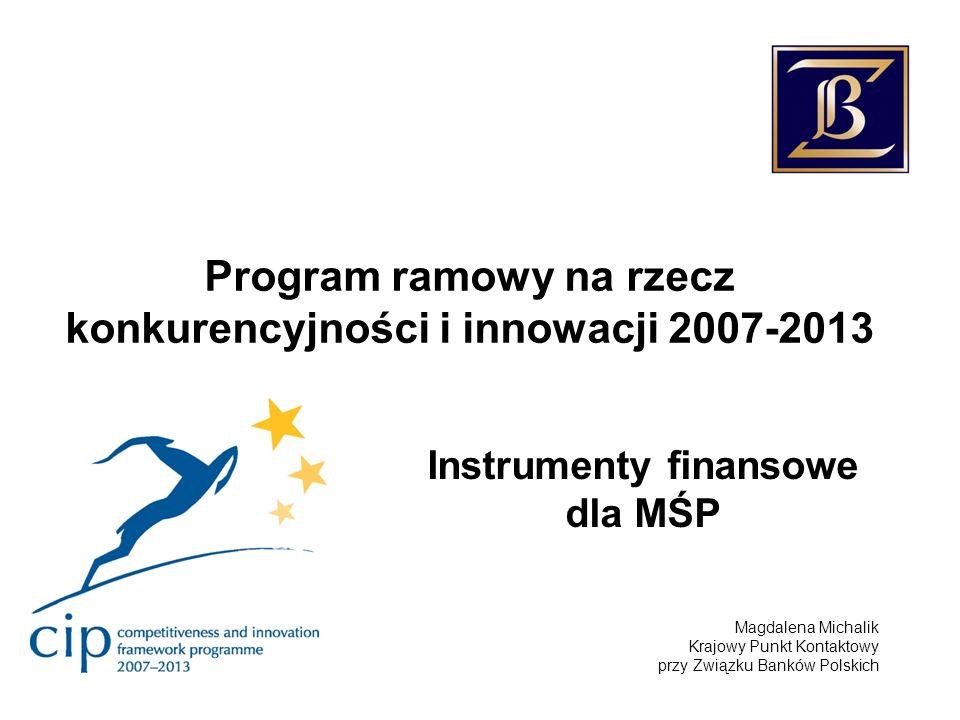 Program ramowy na rzecz konkurencyjności i innowacji 2007-2013 Instrumenty finansowe dla MŚP Magdalena Michalik Krajowy Punkt Kontaktowy przy Związku Banków Polskich