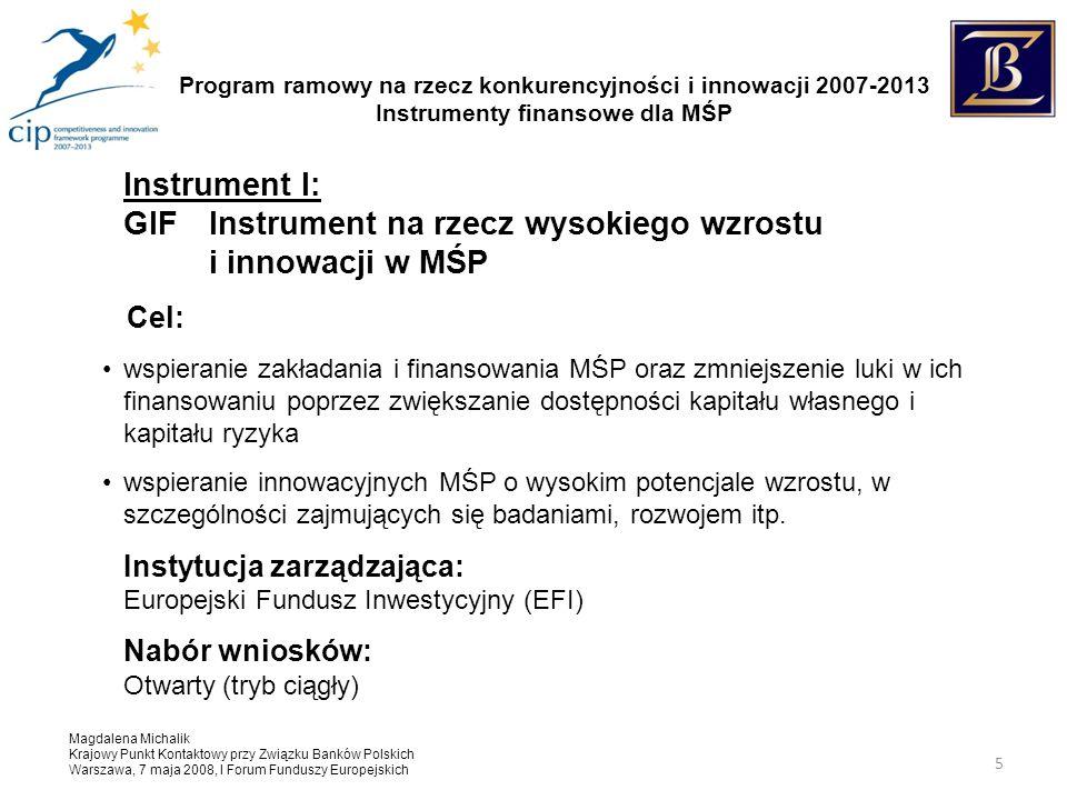 Program ramowy na rzecz konkurencyjności i innowacji 2007-2013 Instrumenty finansowe dla MŚP Magdalena Michalik Krajowy Punkt Kontaktowy przy Związku Banków Polskich Warszawa, 7 maja 2008, I Forum Funduszy Europejskich 5 Instrument I: GIF Instrument na rzecz wysokiego wzrostu i innowacji w MŚP Cel: wspieranie zakładania i finansowania MŚP oraz zmniejszenie luki w ich finansowaniu poprzez zwiększanie dostępności kapitału własnego i kapitału ryzyka wspieranie innowacyjnych MŚP o wysokim potencjale wzrostu, w szczególności zajmujących się badaniami, rozwojem itp.