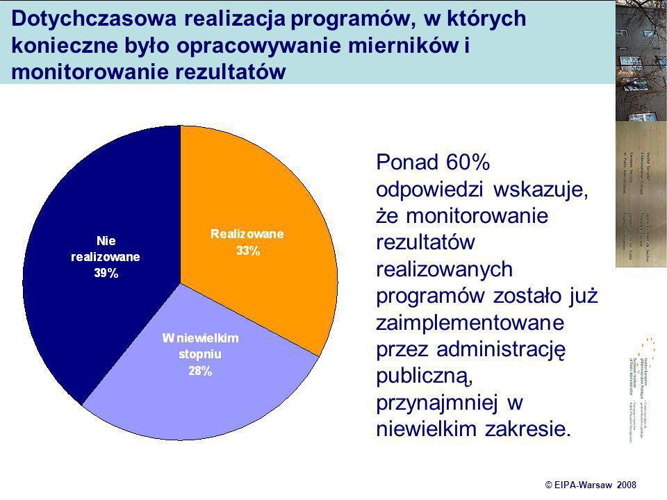 © EIPA-Warsaw 2008 Dotychczasowa realizacja programów, w których konieczne było opracowywanie mierników i monitorowanie rezultatów Ponad 60% odpowiedz