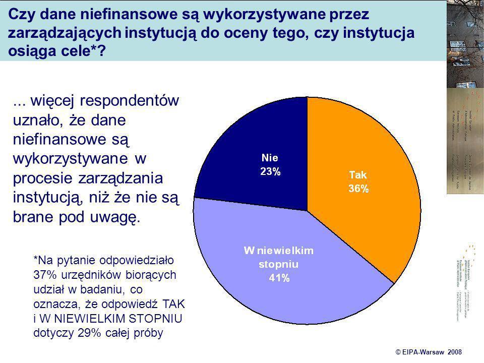© EIPA-Warsaw 2008 Czy dane niefinansowe są wykorzystywane przez zarządzających instytucją do oceny tego, czy instytucja osiąga cele*?... więcej respo