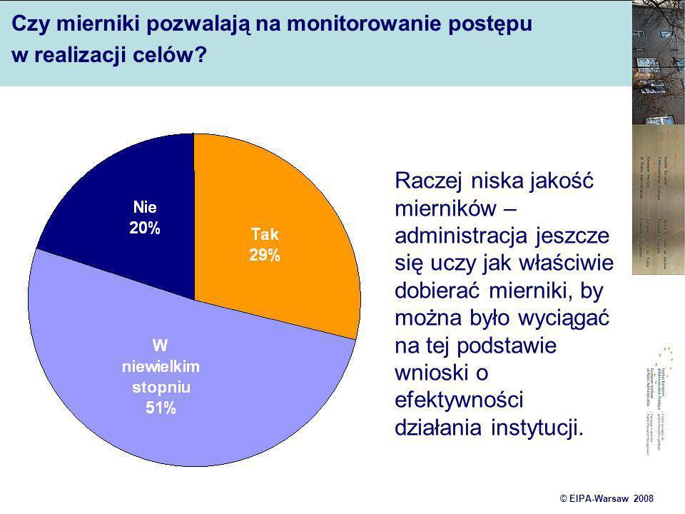 © EIPA-Warsaw 2008 Czy mierniki pozwalają na monitorowanie postępu w realizacji celów? Raczej niska jakość mierników – administracja jeszcze się uczy