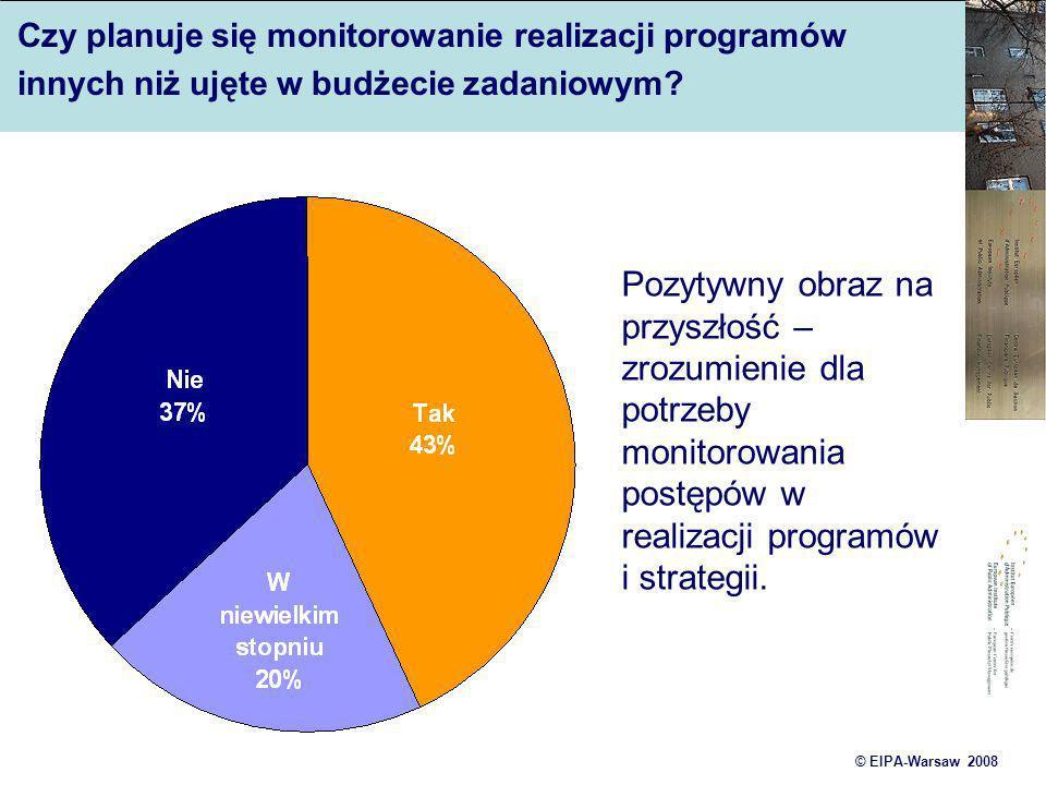 © EIPA-Warsaw 2008 Czy planuje się monitorowanie realizacji programów innych niż ujęte w budżecie zadaniowym? Pozytywny obraz na przyszłość – zrozumie