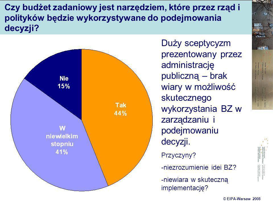 © EIPA-Warsaw 2008 Czy budżet zadaniowy jest narzędziem, które przez rząd i polityków będzie wykorzystywane do podejmowania decyzji? Duży sceptycyzm p